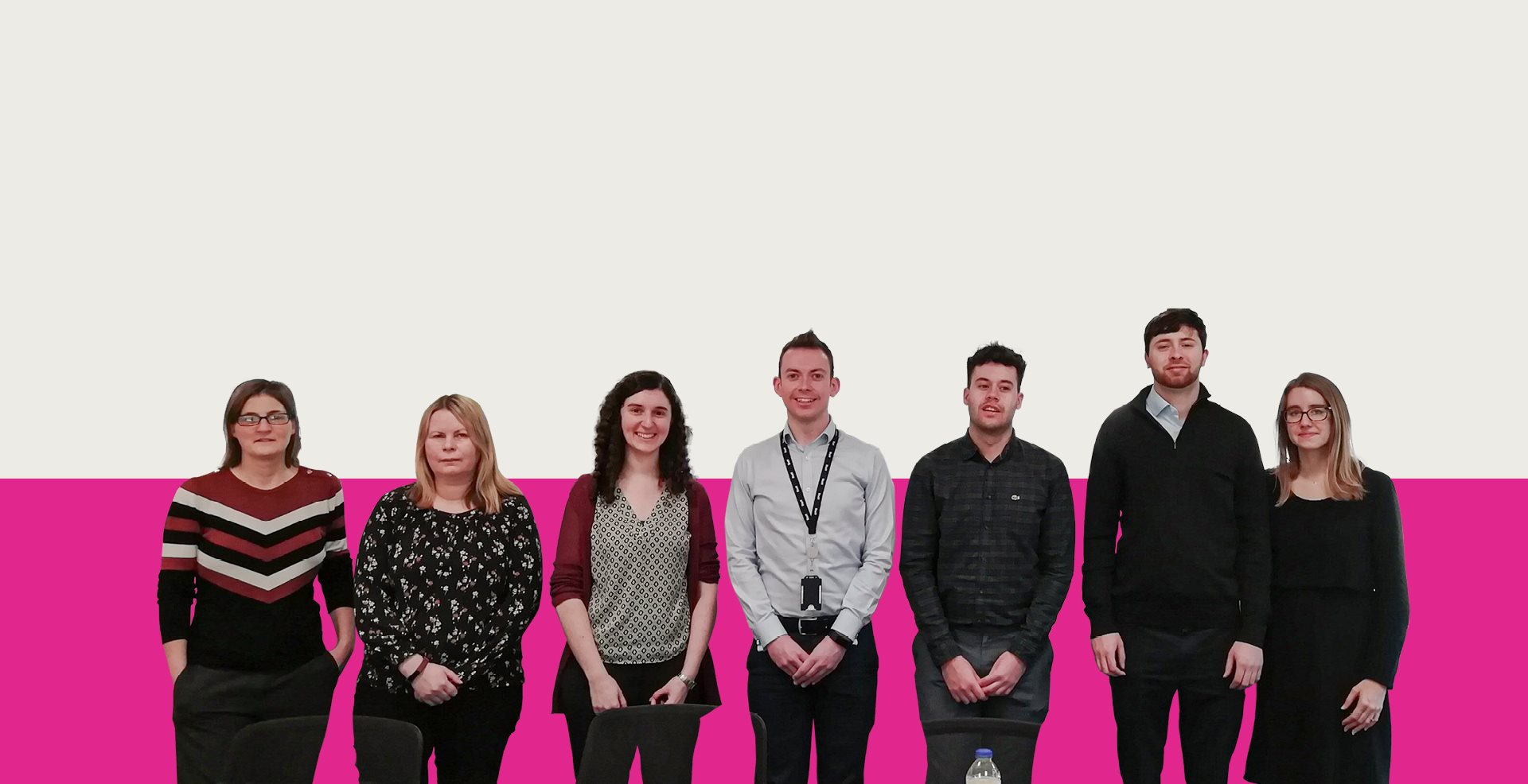 Human factors team in front of a Mott MacDonald branded background